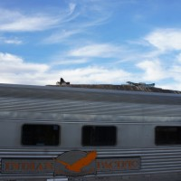 The Indian Pacific in Broken Hill (Miner's memorial in the background)