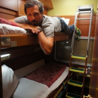 The night-time setup in a twin sleeper cabin