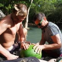 Watermelon for lunch at Cedar Creek Falls