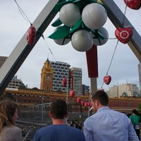 A giant mistletoe at Flinders Street footbridge