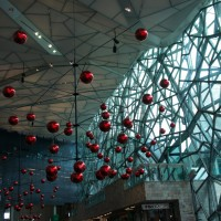 Fed Square's suitably avant garde decorations