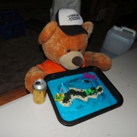 Ted sampling the Fraser Island cake