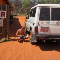 Filling up the tires after driving on the beach